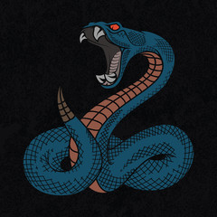 Viper snake. Colorful vector illustration in ink technique on black grunge background, good for poster, sticker, tee shirt design.