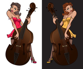 Cabaret girl mascot. Vintage poster of pinup girl playing on contrabass.