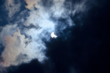 Solar eclipse of the cloud blue