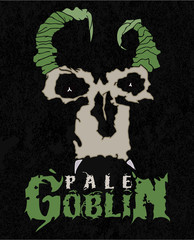 Pale goblin. Stylish poster of pale face fiend with horns. Good fore t-shirt, stickers, labels.