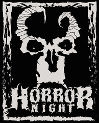 Horror night. Stylish poster of fiend with horns. Good fore t-shirt, stickers, labels.
