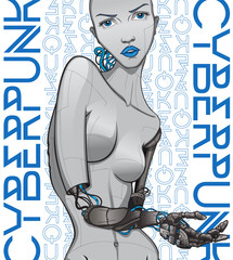 Cyberpunk poster. Cyborg girl with mechanical hands on code background. Design for posters, party invitations, t-shirt prints, media events.