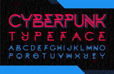 Cyberpunk typeface design. Modern style font with code background.