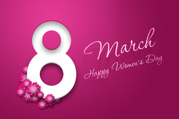 March 8, International Women's Day. Celebration concept, banner, poster, invitation, pink background, flowers.