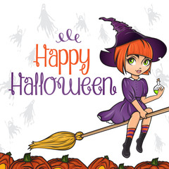 Happy Halloween poster card. Cute pinup little witch on broom with bottle of poison on background with ghosts and jack o lantern pumpkins.
