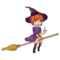 Cute pinup little witch on broom with bottle of poison. Halloween mascot.