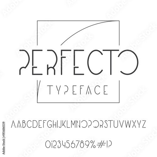 Perfecto typeface  Elegant font with golden ratio tracery