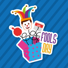 fools day jack in the box with mask clown calendar and cushion vector illustration