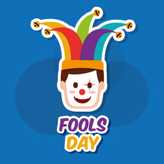 fools day man face with clown mask and jester hat vector illustration