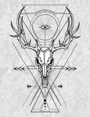 Skull of the deer in ink graphic technique with sacred geometry shapes on grunge background.