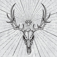 Skull of the deer in ink graphic technique with diamond and rays of light on grunge background.