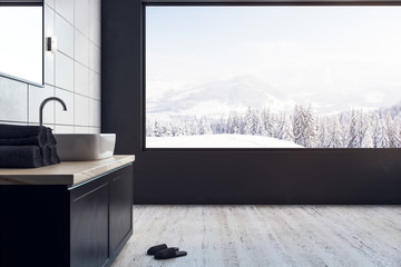 Contemporary bathroom with panoramic view