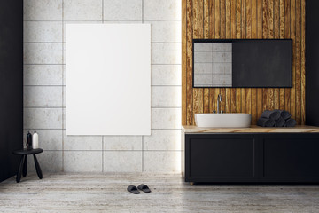 Contemporary bathroom with empty poster
