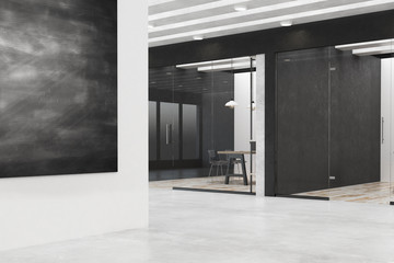 Modern office with chalkboard poster