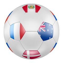 3D soccer ball with group C flags of France, Australia, Peru, Denmark on white background. Match between France and Australia