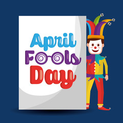 funny clown standing with lettering april fools day vector illustration