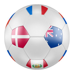 3D soccer ball with group C flags of France, Australia, Peru, Denmark on white background. Match between Denmark  and Australia