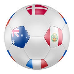 3D soccer ball with group C flags of France, Australia, Peru, Denmark on white background. Match between Australia and Peru