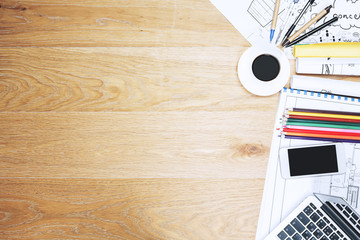 Wooden office workspace with items