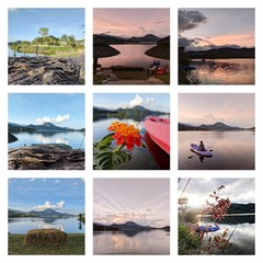 Collage of Free day  travel photos ,Thailand holiday photo scattered