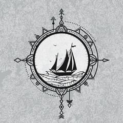 Sailboat in the sea and wind rose. Vector illustration of compass in tribal technique and sailboat on the waves of sea on grunge background.