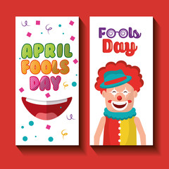 funny clown happy mouth april fools day banners vector illustration