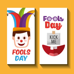face happy clown mask and kick me fools day banners vector illustration