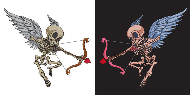 Skeleton cupid mascot with angel wings, bow and cupid arrow. Good for greeting carts, banners, stickers, t-shirts and posters.