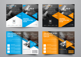 Design a bi-fold brochure with triangular colored elements and a place for photos.