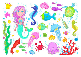 Marine life and little mermaid, fishes, jelly fish, shells, octopus, crab, seaweed, coral, sea horse and starfish, vector collection made in cartoon style.