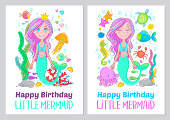"""Greeting card, poster, print with quote """"Happy birthday little mermaid"""". Marine life, fishes, jelly fish, shells, octopus, crab, seaweed, coral, sea horse and starfish made in cartoon style."""