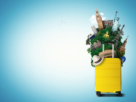 Yellow travel bag with world landmark, holiday and tourism