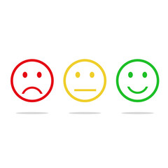 Red, yellow, green  smile vector icon flat design with shadow