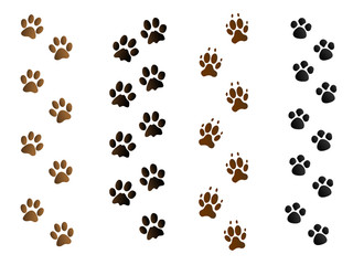 colorful pet paw print tracks on white vector