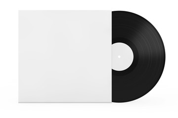 Old Vinyl Record Disk in Blank Paper Case with Free Space for Your Design. 3d Rendering