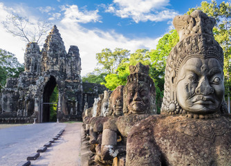 Row of demons  statues in the South Gate of Angkor Thom complex, Siem Reap, Cambodia