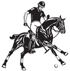 polo player riding a pony horse and holding a mallet stick to hit a ball .The  horse in gallop .Equestrian sport Black and white vector illustration