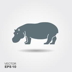 A silhouette of a hippopotamus