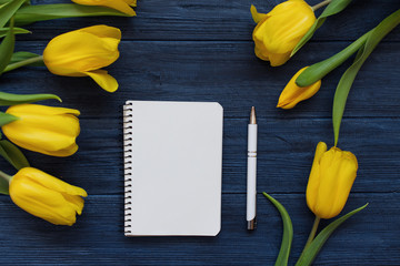 Spring yellow tulips, blank notebook and pen on the blue wooden background. Copy space. Flat lay, top view.