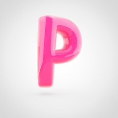 Pink letter P uppercase filled with soft light isolated on white background.