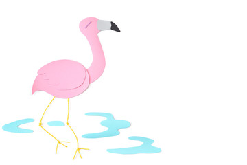 Flamingo paper cut on white background - isolated