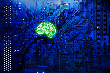 Artificial intelligence technology concept with neural network from gears in human brain shape, computer mainboard as background