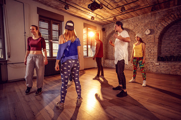 Professional dancer class in the urban gym