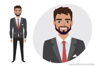 businessman with beard in formal suit. Full length portrait of Cartoon Businessman. Character for rigging and animation