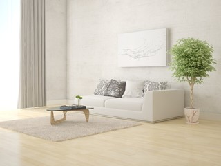 Mock up a bright living room with comfortable comfortable sofa and a light background.