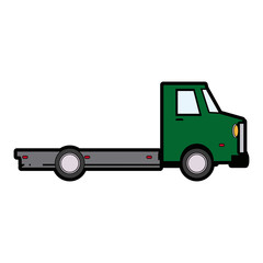 truck cabin trailer transport wheels motor vector illustration