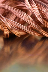 Closeup of copper wire, concept of market of raw materials