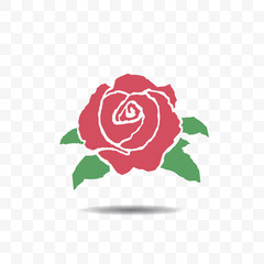 Red rose icon isolated on transparent background.