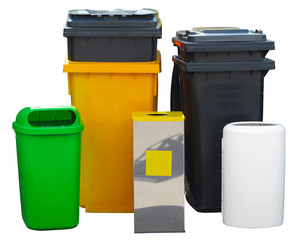 Many different colorful garbage bin containers  isolated