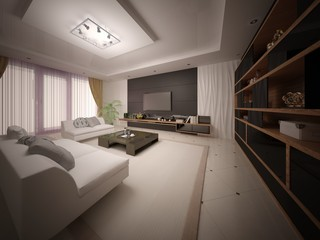 Modern exclusive living room with stylish comfortable furniture and stylish background.